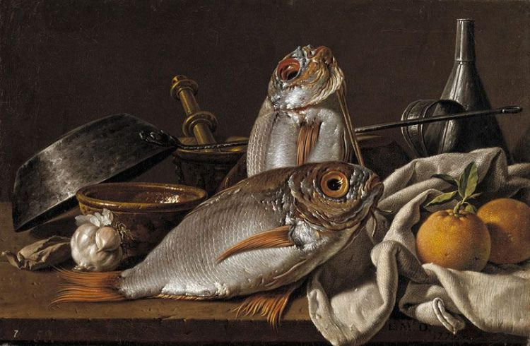 Luis Meléndez, Still Life with Bream, Oranges, Garlic, Condiments, and Kitchen