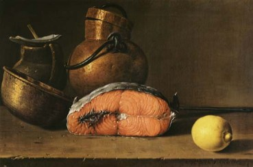 Still Life with a Piece of Salmon, a Lemon 3 vases melendez