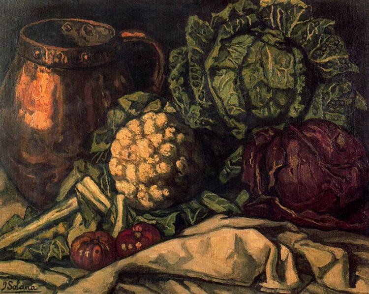 Still life with Red Cabbage, Copper, Cauliflower and Cabbag jose guttierez